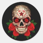 Dark Sugar Skull with Red Roses Classic Round Sticker