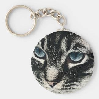 Dark Tabby Cat Blue Eyes Key Rings Basic Round Button Key Ring