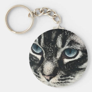 Dark Tabby Cat Blue Eyes Key Rings Basic Round Button Key Ring