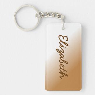 Dark Tan White Ombre Double-Sided Rectangular Acrylic Keychain