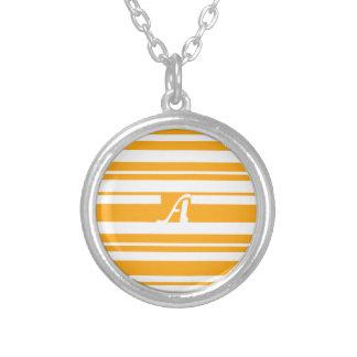 Dark Tangerine and White Random Stripes Monogram Necklace