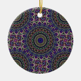 Dark Tapestry Tiled Kaleido Pattern Christmas Ornament