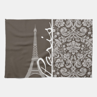 Dark Taupe, Brown Damask; Paris Tea Towel