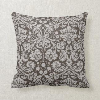 Dark Taupe, Brown Damask Pattern Cushion
