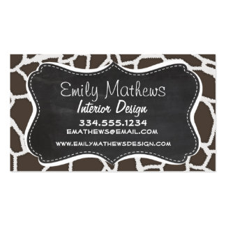 Dark Taupe Giraffe Animal Print; Chalkboard look Double-Sided Standard Business Cards (Pack Of 100)