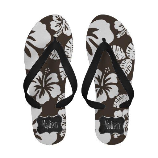 Dark Taupe Tropical Hibiscus; Chalkboard Sandals