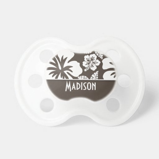 Dark Taupe Tropical Hibiscus; Personalized Pacifier