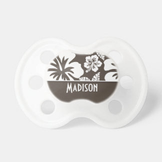 Dark Taupe Tropical Hibiscus Personalized Pacifier