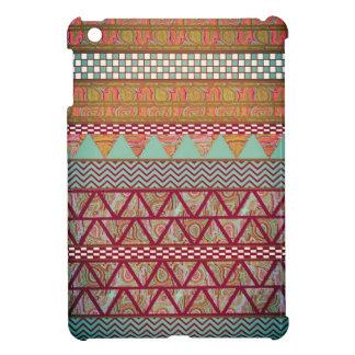 Dark Teal Amber Boho Tribal Stripes Pattern iPad Mini Cover