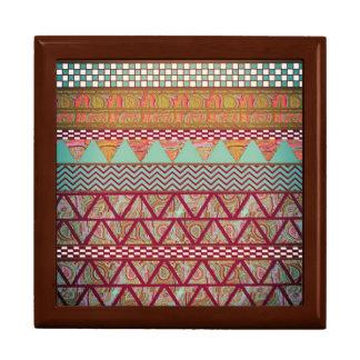 Dark Teal Amber Boho Tribal Stripes Pattern Large Square Gift Box