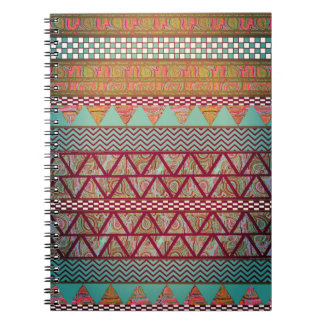 Dark Teal Amber Boho Tribal Stripes Pattern Notebook