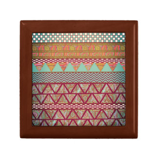 Dark Teal Amber Boho Tribal Stripes Pattern Small Square Gift Box