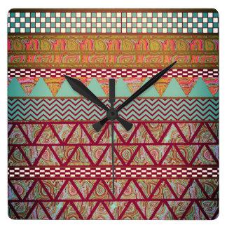 Dark Teal Amber Boho Tribal Stripes Pattern Square Wall Clock