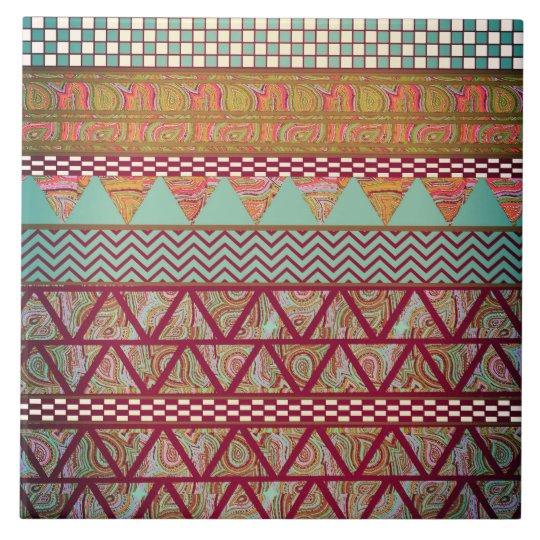 Dark Teal Amber Boho Tribal Stripes Pattern Tile