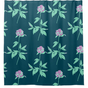 Dark Teal And Purple Floral Pattern Shower Curtain