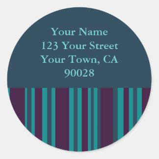 dark teal and purple striped address labels