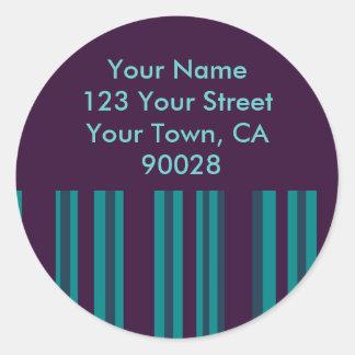 Dark Teal and purple striped address labels Sticker