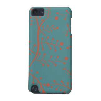 Dark Teal and Salmon Orange Tree Branch Pattern iPod Touch 5G Covers