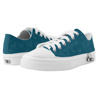 Dark Teal And White Zigzag Low Tops