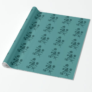 Dark Teal Bird Silhouette on Teal Wrapping Paper