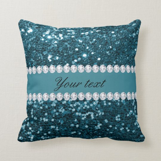 Dark Teal Blue Faux Glitter and Diamonds Cushion