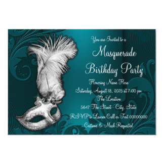 Dark Teal Blue Feather Mask Masquerade Party Card
