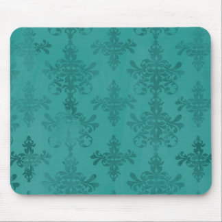 dark teal blue green distressed damask mouse pad