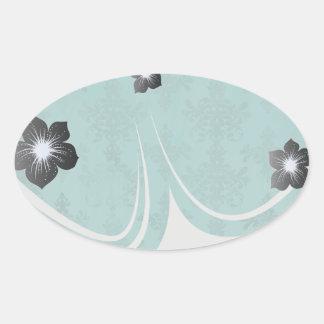 dark teal blue green distressed damask stickers