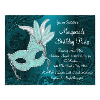 Dark Teal Blue Masquerade Party 4.25x5.5 Paper Invitation Card
