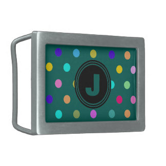 Dark Teal confetti polka dots belt buckle