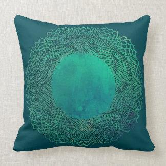 Dark Teal Crochet Lace Doily Pillow