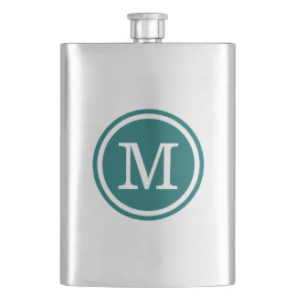 Dark Teal Custom Personalized Monogram Hip Flask