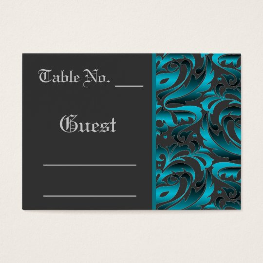 Dark Teal Damask Wedding Table PlaceCard Business Card