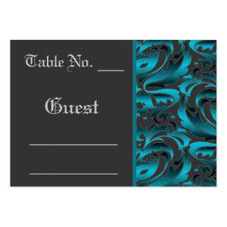 Dark Teal Damask Wedding Table PlaceCard Business Card Templates