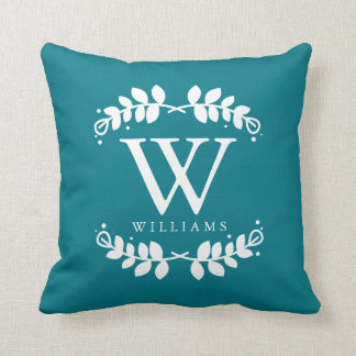 Dark Teal Elegant Monogram Cushion
