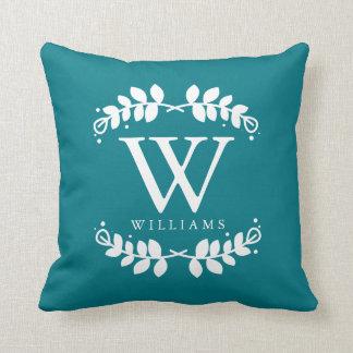 Dark Teal Elegant Monogram Throw Pillow