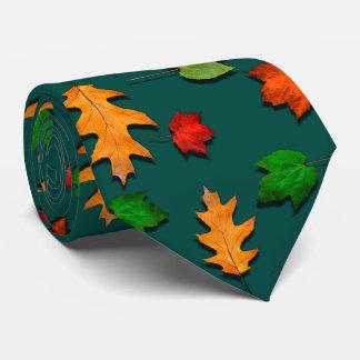 Dark Teal Fall Leaves Seasonal Mens Tie