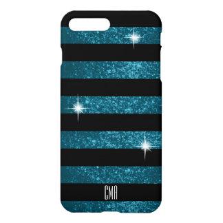 Dark Teal  Faux Glitter & Black Stripes | Monogram iPhone 8 Plus/7 Plus Case