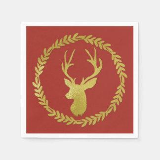 Dark Teal Gold Deer Wreath Christmas Napkin Disposable Napkin