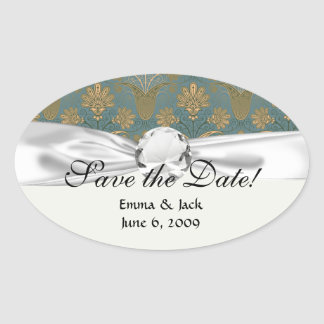 dark teal green and gold damask stickers