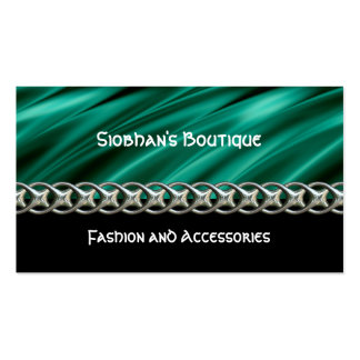 Dark teal green, black & silvery chain pack of standard business cards