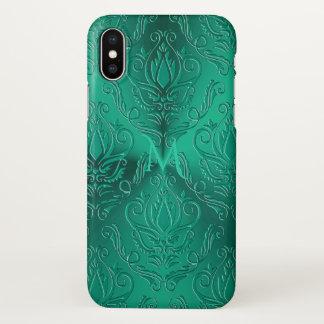 Dark Teal Green Damask Monogram iPhone X Case