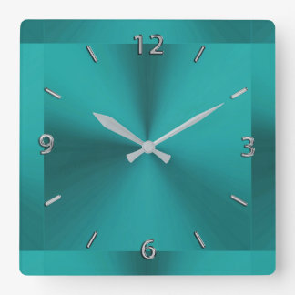 Dark Teal Green Metallic Clock