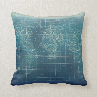 Dark Teal Grunge World Map Cushion