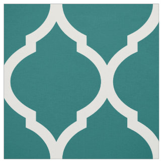 Dark Teal Moroccan Quatrefoil Large Scale Fabric