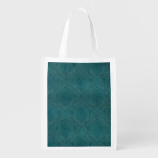 Dark Teal Pattern background Reusable Grocery Bag