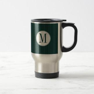 Dark Teal Pinstripe Single Monogram Mug
