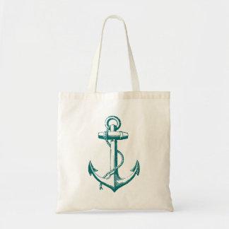 Dark Teal Vintage Anchor Illustration Tote Bag