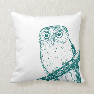 Dark Teal Vintage Owl & Polka Dots Cushion
