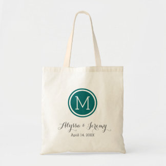 Dark Teal Wedding Monogram Welcome Favor Tote Bag
